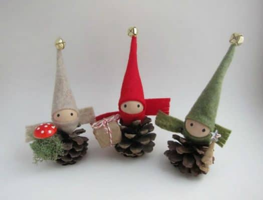 to make some pine cone elves use a small pine cone for the body and add a wooded bead for the head with glue draw faces with a marker