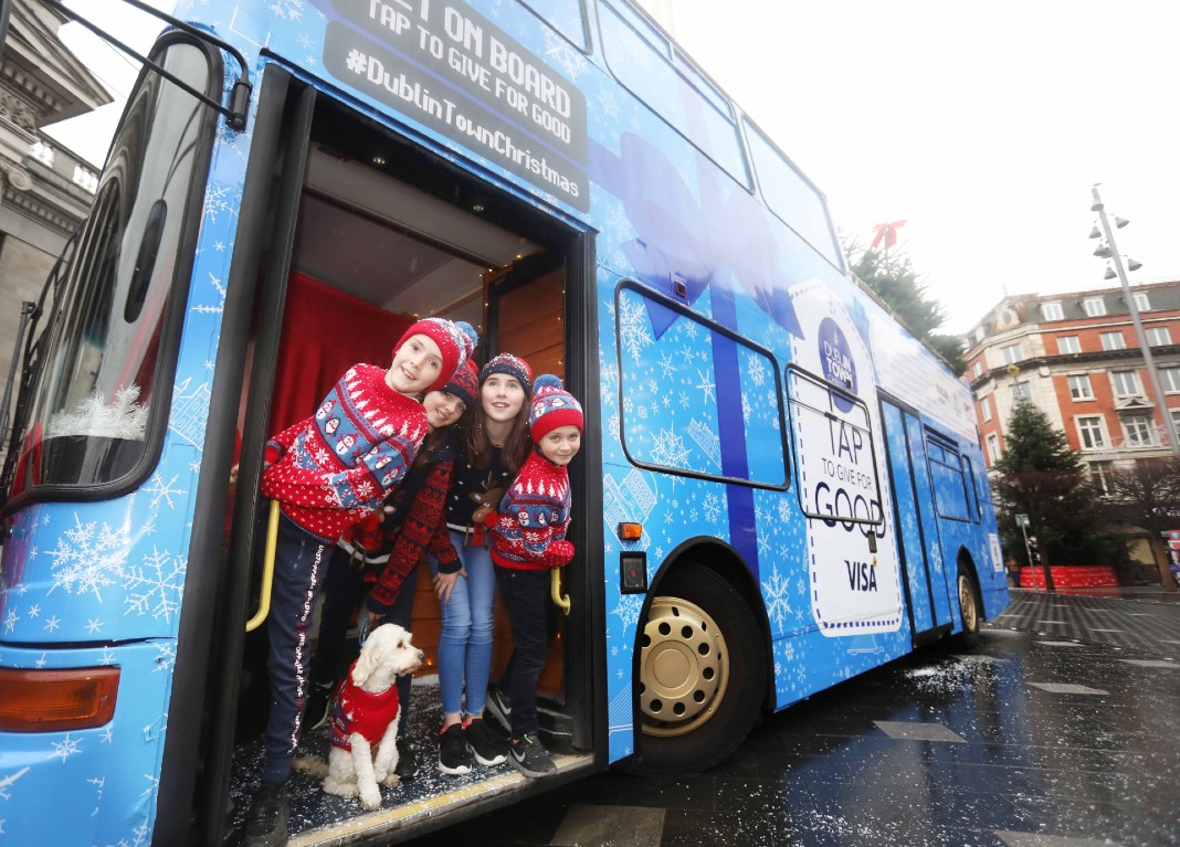 DublinTown Tap to Give for Good Christmas Bus